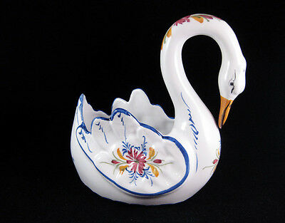 Hand Painted Ceramic Swan Dish RCCL Portugal Signed