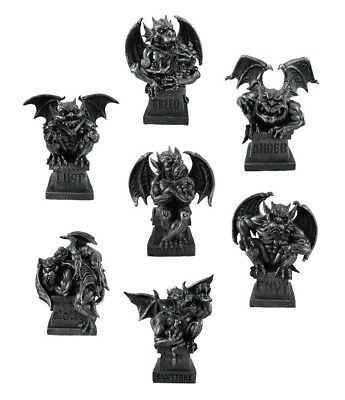 "Gargoyle Set of Magnificent Seven Deadly Sins Figurine Statue 8.5""H Office Decor"