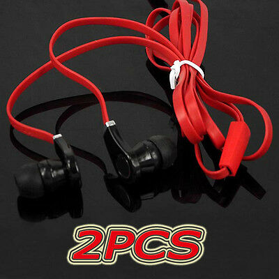 2PCS 3.5mm Red Cool In-Ear flat cable Earbud Earphone Headset For MP4/3 PSP CD