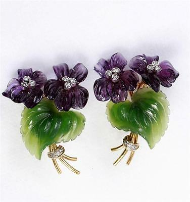 DEMNER Pair of Gold, Carved Amethyst and Nephrite/Jade and Diamond Earclips