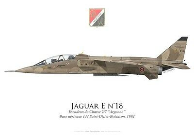 "Print SEPECAT Jaguar E, EC 2/7 ""Argonne"", French Air Force, 1992 (par G. Marie)"