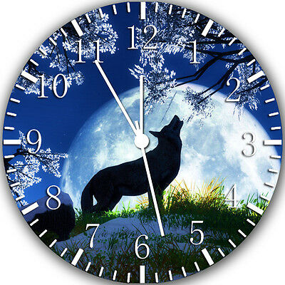 """New Wolf moon night wall Clock 10"""" will be nice Gift and Room wall Decor Y37"""