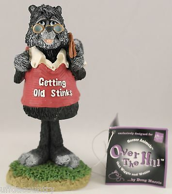 Russ Berrie Gettingn Old Stinks Over The Hill Skunk Bobblehead Figurine