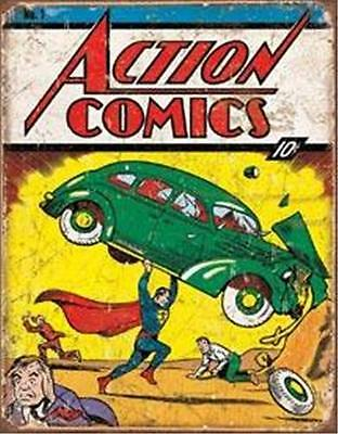 Antique Style Superman Tin Sign Action Comic Book Home Wall Decor Gift USA 16""