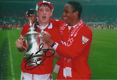 Steve BRUCE SIGNED Manchester United 12x8 Photo AFTAL COA FA Cup WINNER
