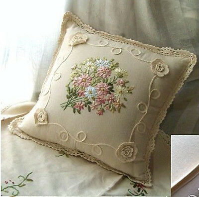 Hand Crochet+ Ribbon Embroidery Pillow/Cushion Cover~Bouquet~Romantic Country~