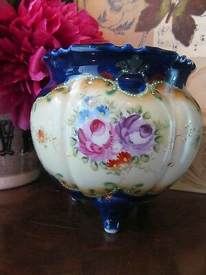 Antique Hand Painted Nippon Roses Asters 3 footed Scalloped Dish  5 inch high