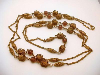 Antique Muff Chain Filigree Brass Links With Amethyst Beads