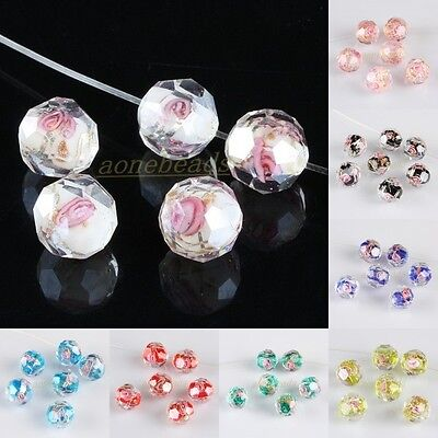 Wholesale Lampwork Glass Flower Floral Loose Spacer Beads Jewelry Crafts Finding