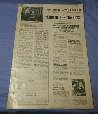 King of the Cowboys (1943) ROY ROGERS & Trigger Western PRESSBOOK