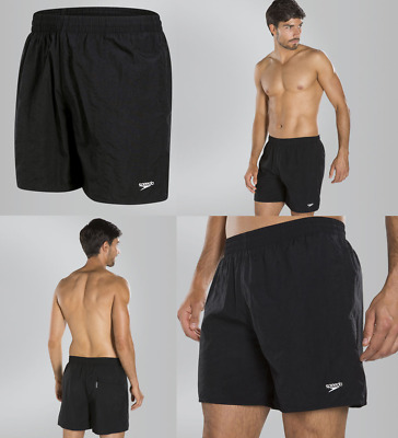 "SPEEDO MENS SOLID LEISURE 16"" SWIMMING SHORTS / Black (022436)"