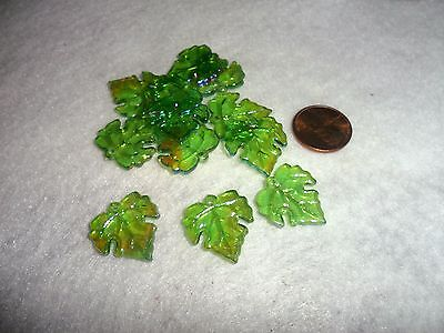Vintage Plastic Grape Ivy Shaped Beads - Light Green with Hole in Stem lot of 12