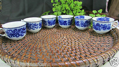 SET OF 6 Antique J & G Meakin Hanley England Flow Blue Teacups - JAPAN PATTERN