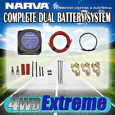 Dual Battery Kit 140Amp Narva Complete Isolator And Wiring System Cable 61092 +