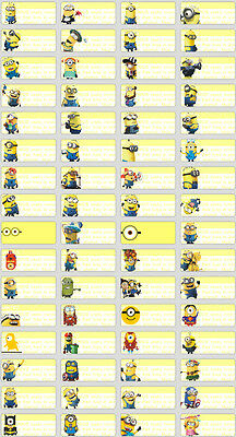 128 Minions Mini Name Label Sticker Stationery Pencil Personalised Vinyl texta