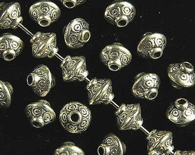 30  x  BICONE ANTIQUE SILVER TIBETAN STYLE SPACER BEADS,  6.5  x  6 MM