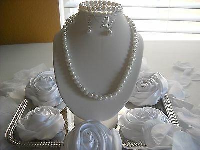Flower Girl Wedding Big Kids or Adult White 8mm Pearl 3pc Gift Box Necklace Set