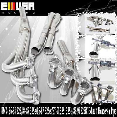 SS Exhaust Header+Y Pipe fits 1987-1991BMW 325is Base Coupe 2D 2.5L E30 M20