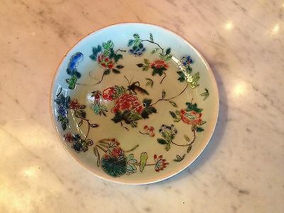 Vtg Antique Chinese Likely Republic Period Signed Plate Insect Floral Decoration