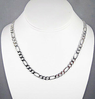 Mens 6Mm Sterling Silver Finish Premium Quality Figaro Link Chain Necklace