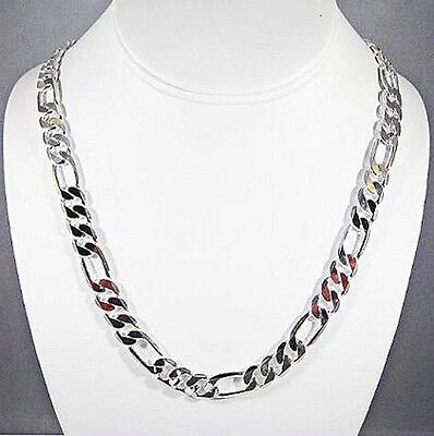 Mens 10Mm Sterling Silver Finish Premium Quality Figaro Link Chain Necklace