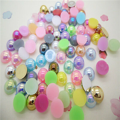 4mm 800 pcs Half Pearl Round Beads Flat Back Scrapbook for Craft a lots color AB