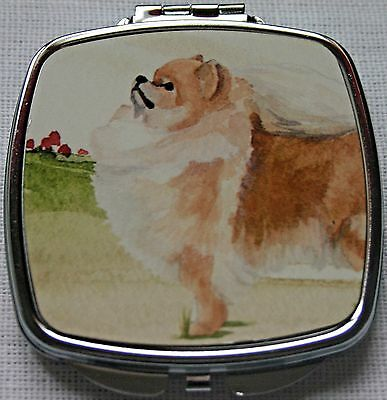 POMERANIAN design ladies handbag mirror compact purse Sandra Coen sublimation