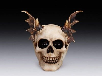 Demon Skull Devil with Horn & Wings Figurine Horror Decorative Statue Halloween