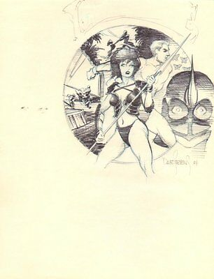 Gwendolyn with Spear Drawing Montage - 1984 Signed art by Dave Stevens