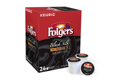 Folgers, Black Silk Coffee, Dark Roast, Keurig K-Cups, 48-Count