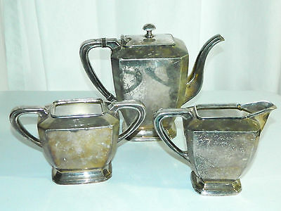 VINTAGE SHEFFIELD NICKEL PLATE SILVER 3 pc TEA SET SQUARE P.S. CO. 9108