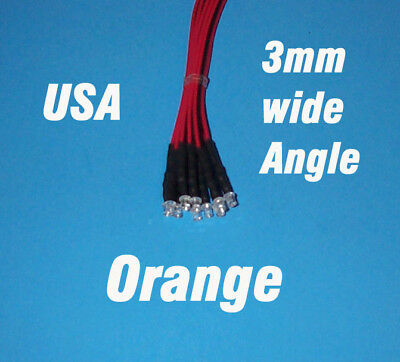 10 x LED - 3mm PRE WIRED 12 VOLT WIDE VIEW ANGLE ORANGE