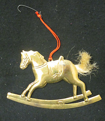 VTG GOLD METAL ROCKING HORSE CHRISTMAS ORNAMENT WITH NYLON BRISTLES **