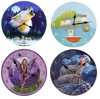 Round Picture Wall Clocks, Choose From Wolf, Fairy, Seaside Harbour - 30cm