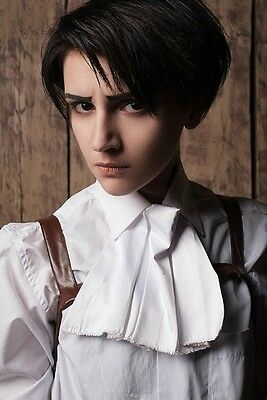 Attack on Titan Levi Black Short Cosplay Costume Anime Wig + FREE Wig CAP