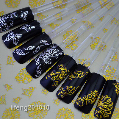 High Quality Hot stamping Gold Silver Flower Nail Art Sticker Decals Decoration