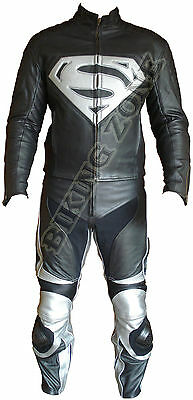 Superman Style Black & Silver Mens Motorbike / Motorcycle Leather Jacket & Suit
