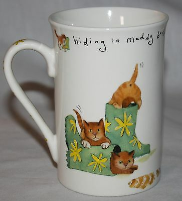 Cat Mug Hiding in Muddy Boots Kent Pottery Kitten Porcelain Coffee Cup