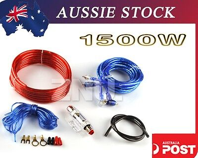 Power 1500W 8Ga Car Audio Amp Amplifier Speaker Install Wire Cable RCA 60A Kit