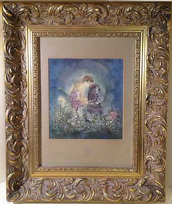 """Ornate Gold Picture Frame with Sulamith Wulfing print 'The Promise' 14 x 16.5"""""""