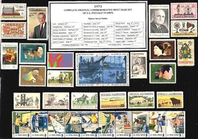 1973 Complete Commemorative Year Set Of Mint (Mnh) Vintage U.s. Postage Stamps
