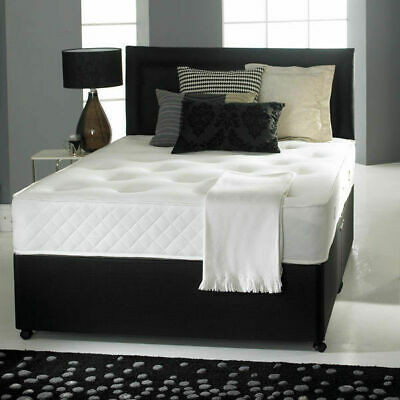 Pocket Sprung Memory Foam Black Leather Divan Bed Headboard 3Ft 4Ft6 Double 5Ft