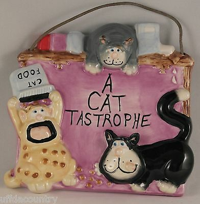 "New - Discontinued  ""A Cat Tastrophe"" Ceramic Plaque Doug Harris design for Russ"