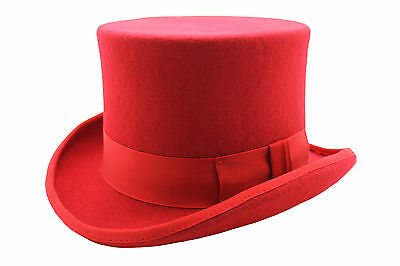 Gents Mens 100% Wool Felt Hand Made Red Top Felt Hat With Satin Lining!!!
