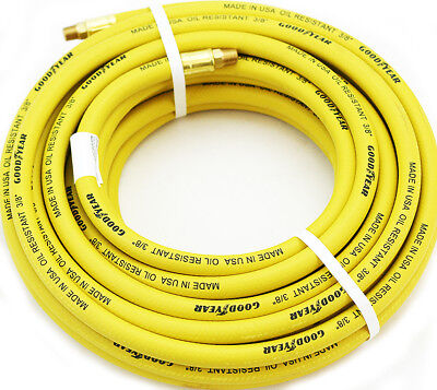 "Yellow 3/8""x50' GoodYear/Continental Rubber Hose Air Tool Compressor Grease USA"