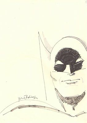 Batman Portrait Drawing - Signed art by Jerry Robinson