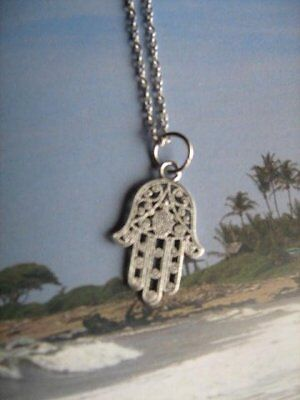 Large Hamsa Hand Pendant Necklace