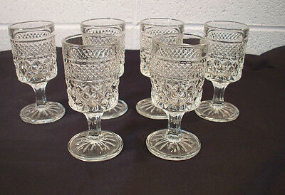 Vintage Set of Six Anchor Hocking Wexford Wine Glasses