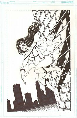 Spider-Woman Wall Crawling Commission - 2012 Signed art by George Perez