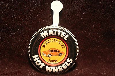 Vintage 1969 Hot Wheels Mercedes-Benz 280SL Tab Metal Button Hong Kong Excellent
